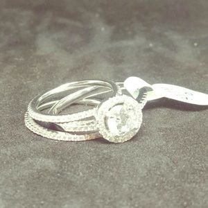 Stamped S925 Sterling Silver Wedding Ring 3pc